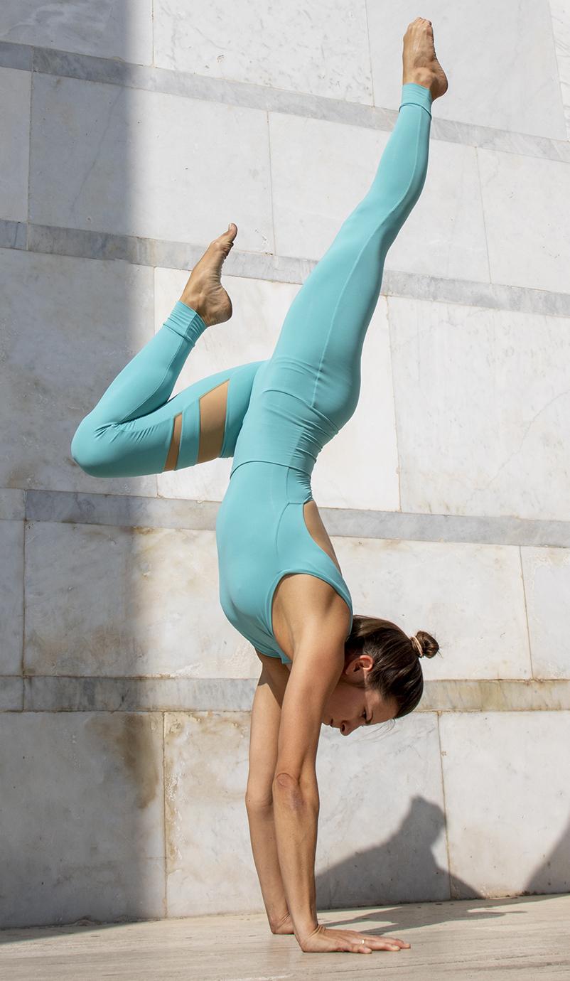 Completo Yoga Body Flora Leggings Aura Acqua